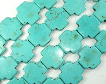 Howlite Turquoise Beads, 26x26 mm Cross Beads, 16 Inch, Full strand, Approx 16 beads, Hole 1 mm (213144002)