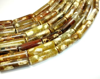 Agate Beads, 10mm x 30mm Tube Beads, 15.5 Inch, Full strand, Approx 13 beads. Hole 1.5 mm (122065007)