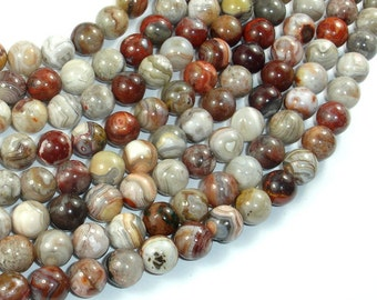 Mexican Crazy Lace Agate Beads, 8mm(8.5mm) Round Beads, 15.5 Inch, Full strand, Approx 48 beads, Hole 1mm, A quality (202054020)