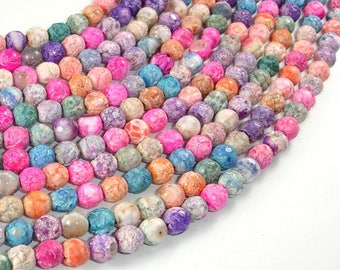 Crackle Agate Beads, Multi color, 6mm Round Beads, 15.5 Inch, Full strand, Approx 63 beads, Hole 1mm (122054253)
