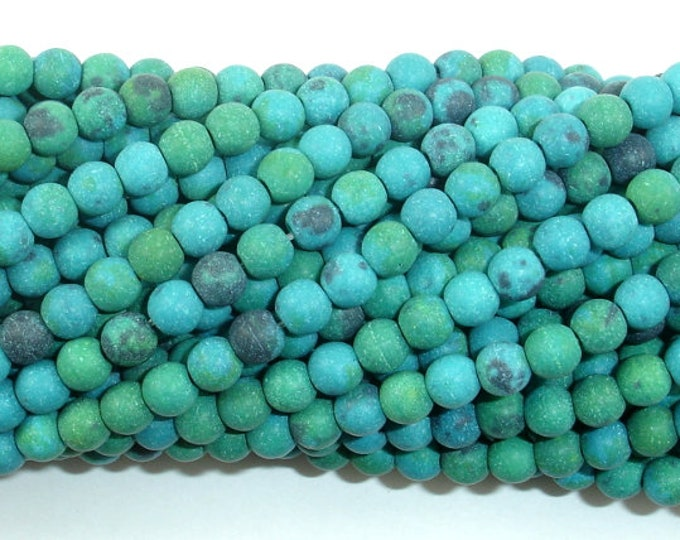 Matte Chrysocolla, 4mm(4.5mm) Round Beads, 15 Inch, Full strand, Approx 88 beads, Hole 0.8mm, A quality,Reconstituted (196054017)