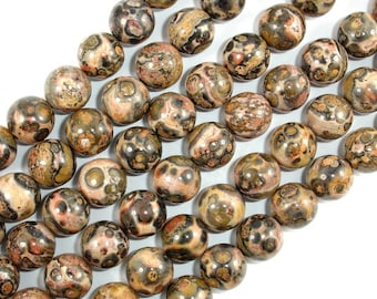 Leopard Skin Jasper, Round bead, 10 mm, 15.5 Inch, Full strand, Approx 39 beads, Hole 1 mm, A quality (306054010)