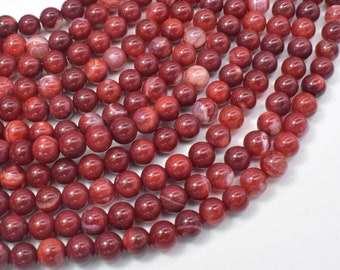 Red Fire Agate, 6mm Round Beads, 15 Inch, Full strand, Approx 63 beads, Hole 1mm (122054290)