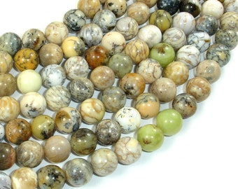 Dendritic Opal Beads, Moss Opal, 10mm Round Beads, 16 Inch, Full strand, Approx 40 beads, Hole 1 mm, A quality (441054007)