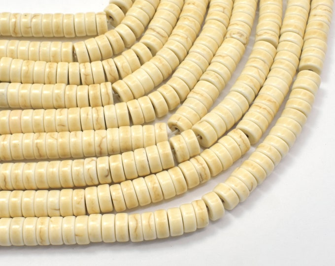 White Howlite Beads, 2.7x 6mm Heishi Beads, 15.5 Inch, Full strand, Approx 140 beads, Hole 1mm (275041004)