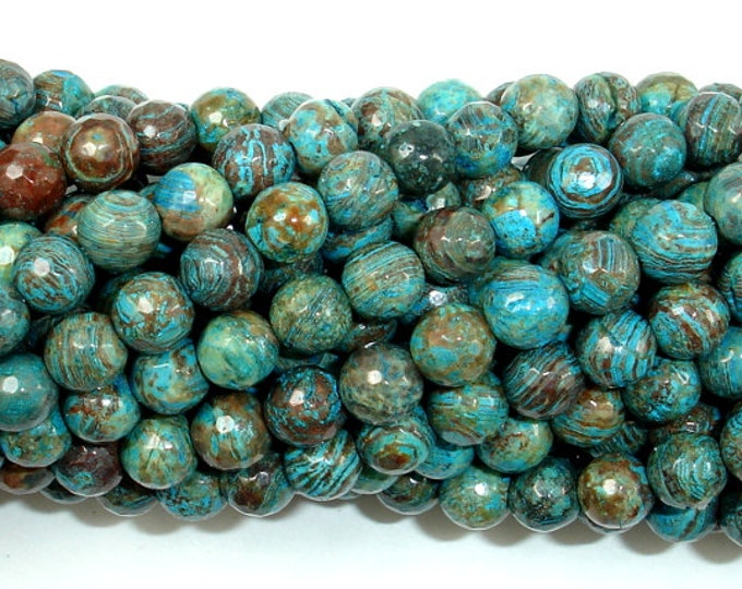 Blue Calsilica Jasper Beads, 6mm Faceted Round Beads, 15.5 Inch, Full strand, Approx 65 beads, Hole 1 mm, A quality (496025001)