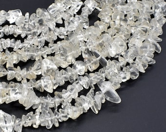 Clear Quartz, 4mm - 9mm Chips Beads, 35 Inch, Long full strand, Hole 0.8mm (198005001)