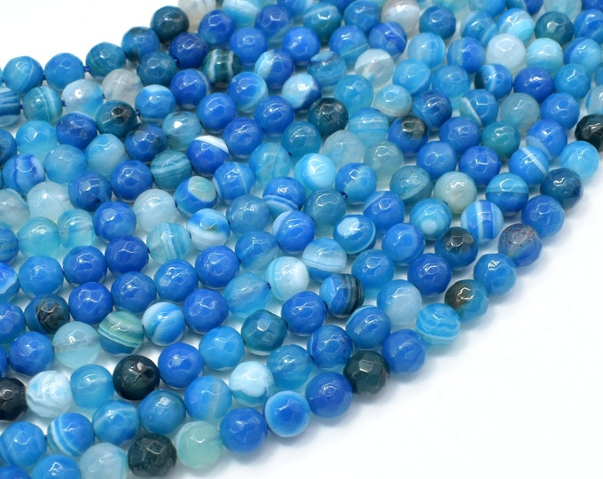 Banded Agate Beads, Striped Agate, Blue, 6mm Faceted Round Beads, 14.5 Inch, Full strand, Approx 61 beads, Hole 1mm, A quality (132025002)
