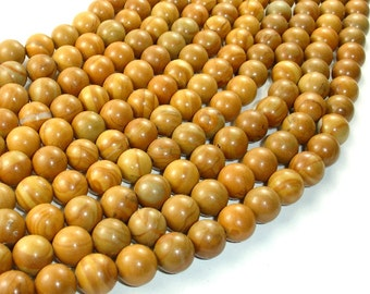 Wood Jasper Beads, Round, 10 mm, 15.5 Inch, Full strand, Approx 39 beads, Hole 1 mm, A quality (437054005)