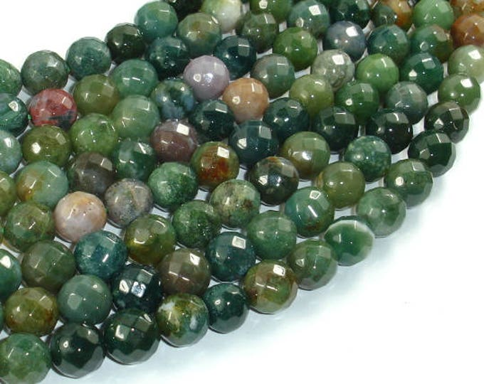 Indian Agate Beads, 10mm Faceted Round, 15 Inch, Full strand, Approx 38 beads, Hole 1 mm (282025002)