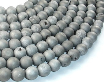 Druzy Agate Beads, Silver Gray Geode Beads, 10mm(10.5 mm) Round Beads, 15 Inch, Full strand, Approx 38 beads, Hole 1 mm (122054138)