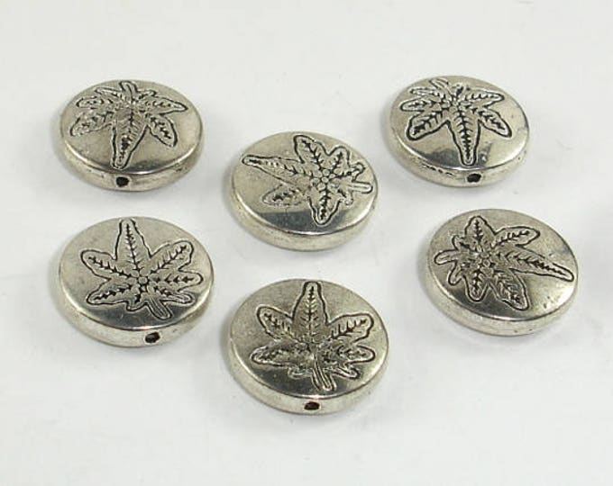 Metal Spacer, Coin Beads, Zinc Alloy, Antique Silver Tone, 12x3.4mm, 20 pcs, Hole 1mm (006852102)