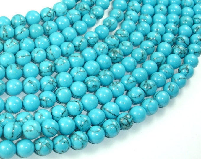 Howlite Turquoise Beads, 8mm Round Beads, 15.5 Inch, Full strand, Approx 48 beads, Hole 1mm, A quality (213054016)