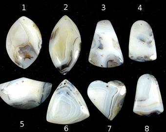 Natural Agate Pendant, Flat Back, 1 piece, Hole 1.5 mm (PNDT7)