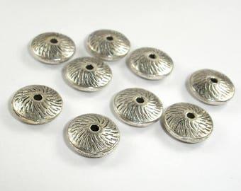 Metal Spacer-Saucer, Zinc Alloy, Antique Silver Tone, 12x5mm, 20 pcs, Hole 1.8mm (006870016)