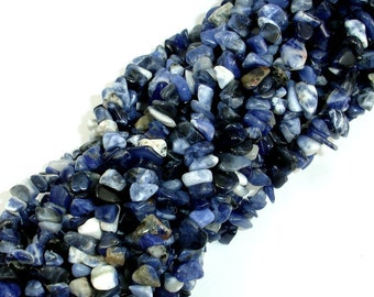 Sodalite, 4mm - 9mm Chips Beads, 34 Inch, long full strand, Hole 0.8 mm (411005001)