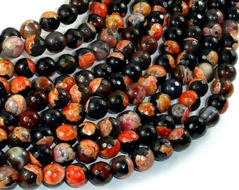 Agate Beads, Orange & Black, 8mm(8.3mm) Faceted Round Beads, 15 Inch, Full strand, Approx 48 beads, Hole 1mm (122025310)