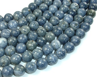Blue Sponge Coral Beads,  10mm Round Beads, 15.5 Inch, Full strand, Approx 39 beads, Hole 1 mm (163054004)