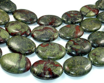 Dragon Blood Jasper Bead, 20 x 30 mm Oval Beads, 16 Inch, Full strand, 13 beads, Hole 1.2 mm, A quality (495030001)