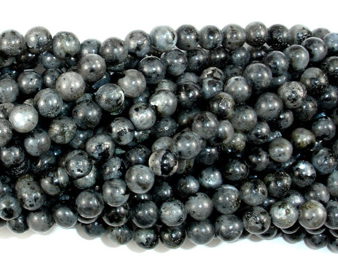 Black Labradorite Beads, Larvikite, Round, 6mm (6.4mm), 15.5 Inch, Full strand, Approx 62 beads, Hole 1mm (137054002)