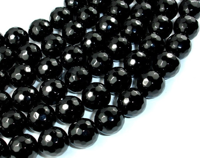 Black Onyx Beads, 14mm (13.8 mm) Faceted Round, 15 Inch, Full strand, Approx 28 beads, Hole 1.4 mm, AA quality (140025008)