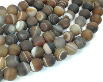Matte Banded Agate Beads, 10mm(10.5mm) Round Beads, 15.5 Inch, Full strand, Approx 38 beads, Hole 1 mm (132054007)