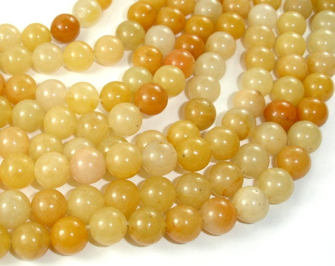Yellow Aventurine Beads, 8mm(8.5mm) Round Beads, 15 Inch, Full strand, Approx 45 beads, Hole 1mm, A quality (439054002)
