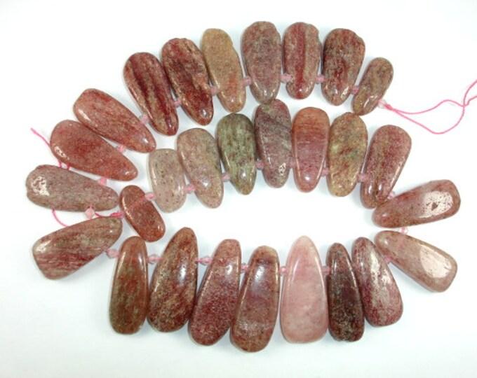 Strawberry Quartz, Lepidocrocite, (12-18)mmx(22-38)mm Flat Teardrop Beads, 16 Inch, Full strand, Approx 27 beads (415143001)
