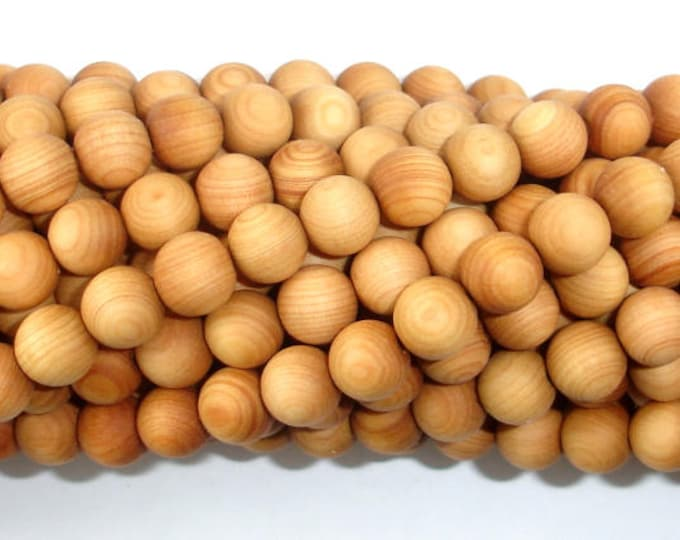 Cedar Wood Beads, Thuja Sutchuenensis, 8mm Round, 35 Inch, Full strand, Approx 108 Beads, Mala Beads (011730001)