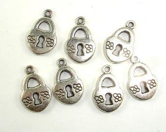 Lock Charms, Zinc Alloy, Antique Silver Tone, 10x14mm, 20 pcs, Hole 1.3mm (006873045)