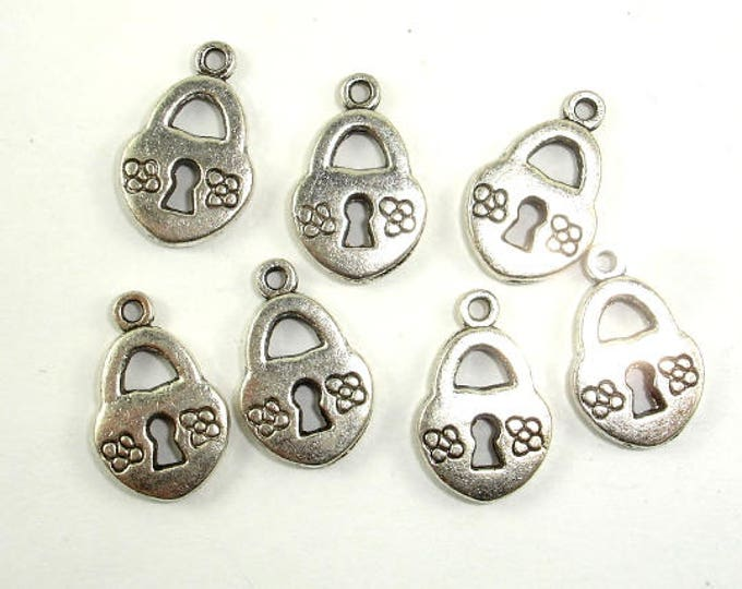 Lock Charms, Zinc Alloy, Antique Silver Tone, 10x14mm, 20 pcs, Hole 1.3mm (006873045)