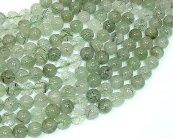 Green Rutilated Quartz Beads, 8mm Round Beads, 15.5 Inch, Full strand, Approx 50 beads, Hole 1mm (396054020)