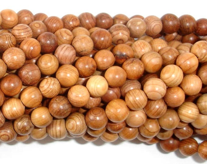 Taxus Chinensis Wood Beads, 6mm Round Beads, 25 Inch, Full strand, Approx 108 Beads, Mala Beads (011740002)