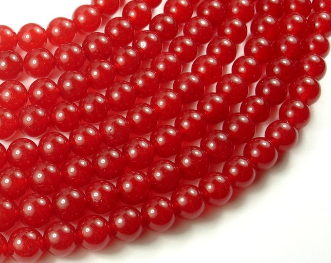 Red Jade Beads, 10mm Round Beads, 15 Inch, Full strand, Approx 40 beads, Hole 1mm, A quality (211054027)