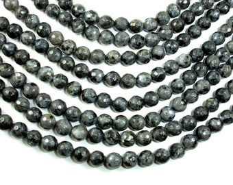 Black Labradorite, Larvikite, 8mm (8.4mm) Faceted Round Beads, 15 Inch, Full strand, Approx 46 beads, Hole 1mm (137025001)