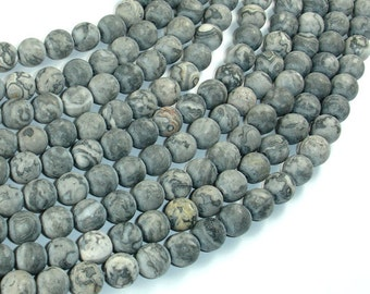 Matte Gray Picture Jasper Beads, 8mm (8.5mm) Round Beads, 15.5 Inch, Full strand, Approx 45 beads, Hole 1mm, A quality (141054008)