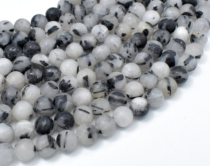 Matte Black Rutilated Quartz, 8mm (8.3mm) Round Beads, 15.5 Inch, Full strand, Approx 48 beads, Hole 1mm (143054008)