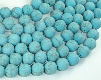 Matte Howlite Turquoise Beads, 10mm Round Beads, 15.5 Inch, Full strand, Approx 39 beads, Hole 1mm, A quality (213054018)