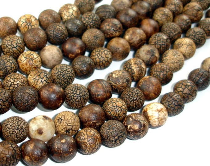 Crackle Tibetan Agate, 10mm(9.8mm) Round Beads, 14.5 Inch, Full strand, Approx 39 beads, Hole 1.5mm (122054236)