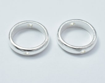 4pcs 925 Sterling Silver Circle Bead Frames, 10.8mm, 8.5mm Inner, 2.5mm thick, Hole 1mm (007915004)