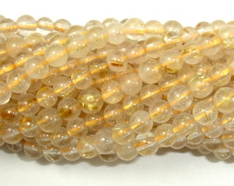 Gold Rutilated Quartz, 5mm(4.7mm) Round Beads, 15.5 Inch, Full strand, Approx 88 beads, Hole 0.8 mm (396054017)