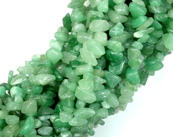 Green Aventurine, 4-9 mm Chips Beads, 34 Inch, Long full strand, Hole 0.8  mm (249005001)