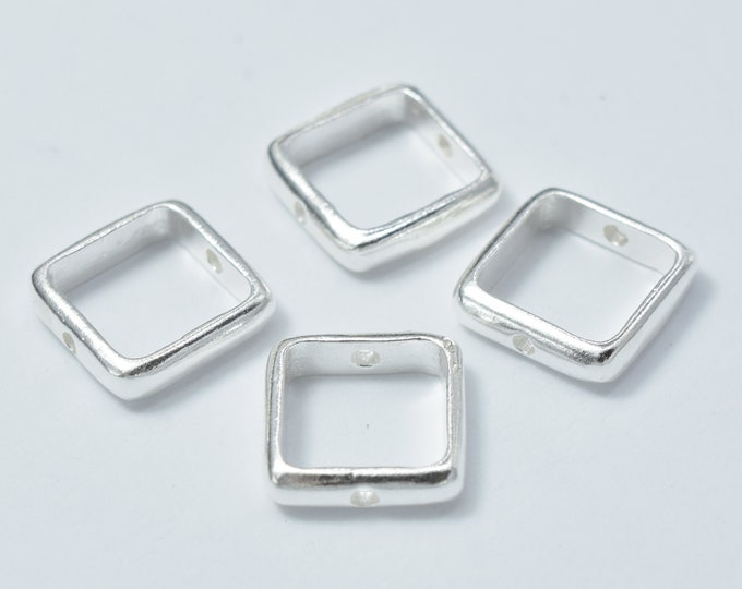 4pcs 925 Sterling Silver Square Bead Frames, 9.5mm, 7.5mm Inner, 2.5mm thick, Hole 1mm (007915002)