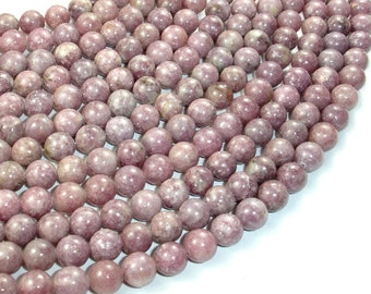Lepidolite Beads, Round, 8mm, 15.5 Inch, Full strand, Approx 50 beads, Hole 0.8 mm (297054001)