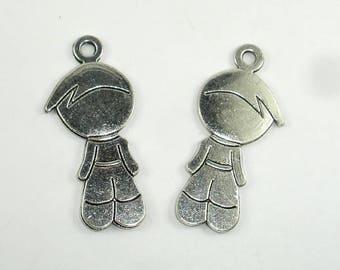 Boy Charms, Boy Pendant, Zinc Alloy, Antique Silver Tone, 18x40 mm, 5 pcs, Hole 2.6mm (006873024)