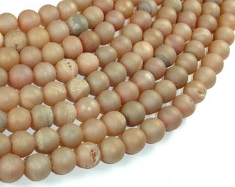 Druzy Agate Beads, Geode Beads, Light Champagne, 8mm(8.3mm) Round Beads, 15 Inch, Full strand, Approx 47 beads, Hole 1 mm (122054228)