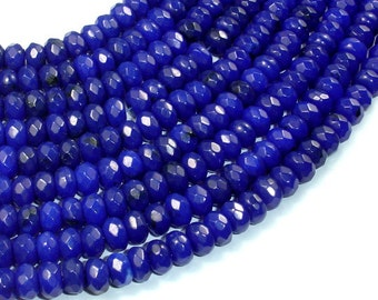 Dark Blue Jade, Approx 5x8mm Faceted Rondelle , 15.5 Inch, Full strand, Approx 78 beads, Hole 1 mm, A quality (211024016)