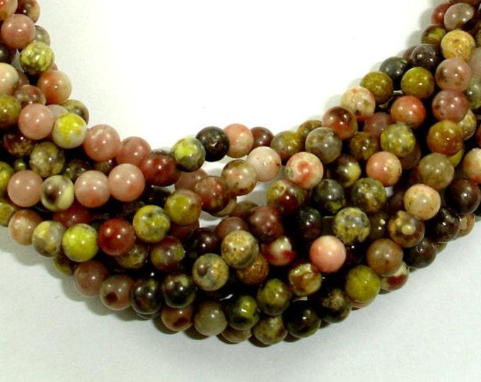 Spicy Jasper Beads, Plum Blossom Jasper, Round, 4mm, 16 Inch, Full strand, Approx 98 beads, Hole 0.5 mm, A quality (288054022)