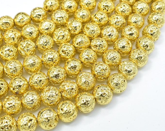 Lava-Gold Plated, 10mm (10.5mm) Round Beads, 15.5 Inch, Full strand, Approx 39 beads, Hole 1mm (300054057)