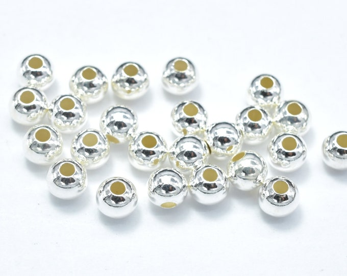 30pcs 925 Sterling Silver Beads, 3mm Round Beads, Hole 1.2mm (007903008)